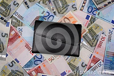 Money euro and wallet