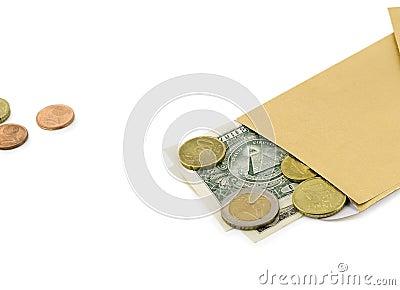 Money exchange american dollar evro coin