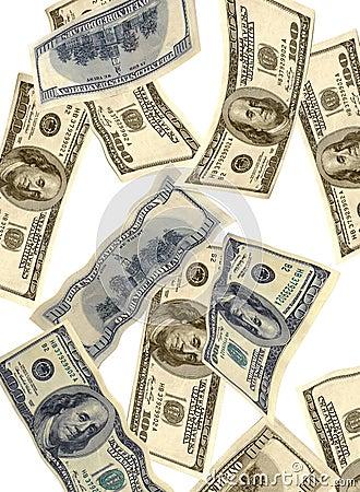 Money falling USA dollars
