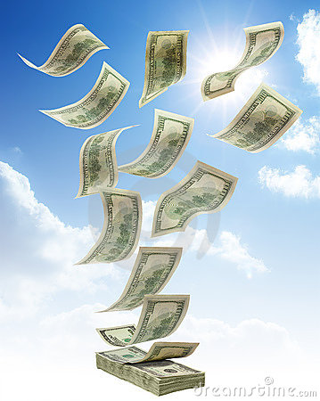 Free Money Falling From Sky Stock Images - 11708214