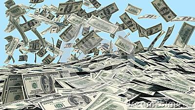 Money falling from the sky in a heap