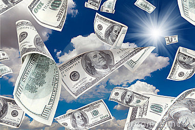 Money falling from the Sunny Sky