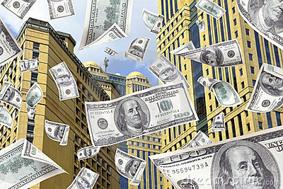 Money Falling from the top of a building