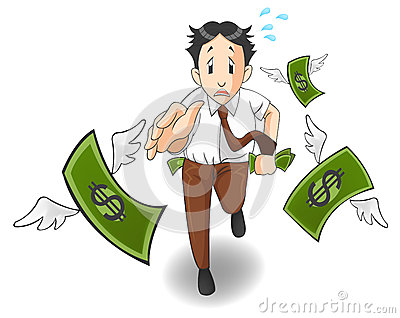 Money is flying away from the pocket Stock Photo