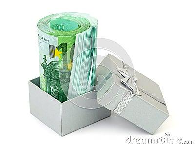 Money in gift box
