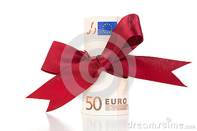 Money gift - Euro bills with a ribbon