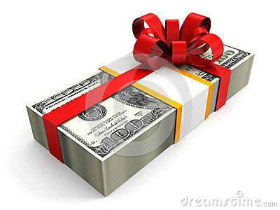 Money gift pack of 100 dollars with red ribbon bow