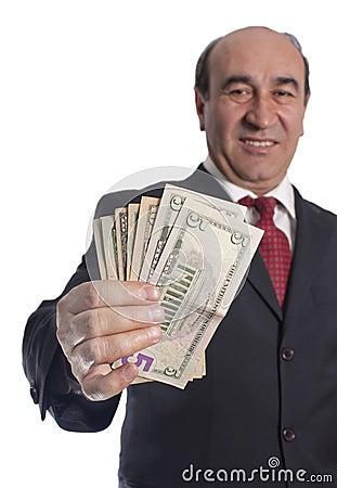 Money giving hand