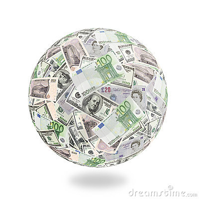 Free Money Goes Around The Globe Royalty Free Stock Image - 1894256