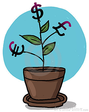 Money grows on a plant in a pot illustration