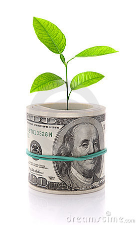 Money growth concept image isolated on white
