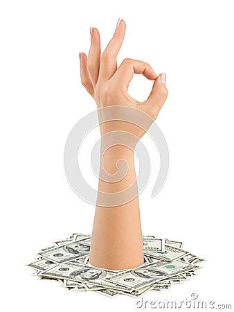 Money and hand ok