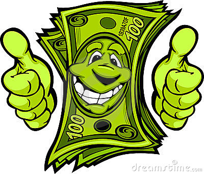Money with Hands giving Thumbs Up Gesture Cartoon
