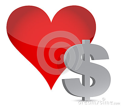 Money heart currency illustration