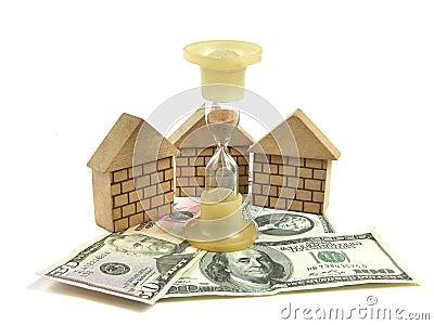 Money, house, hourglass