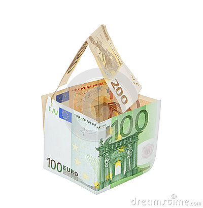 Money house made of euro money concept symbol of wealth. On a wh
