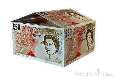 Money house from pounds on a white background
