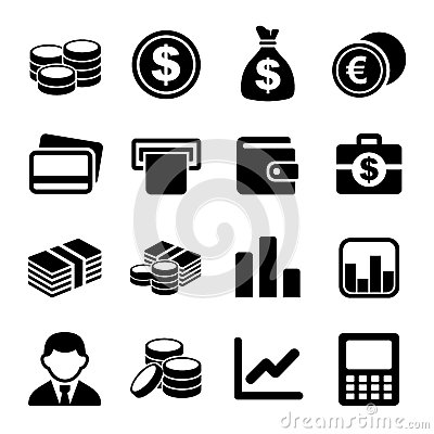 Money icon set Vector Illustration