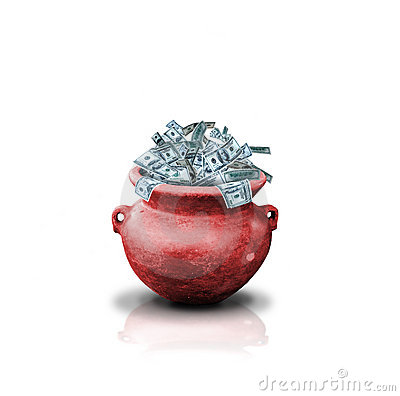Free Money In Red Pot Stock Image - 4657511