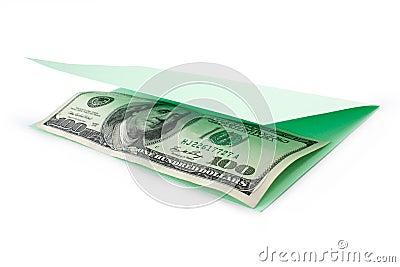 Money inside opening postcard