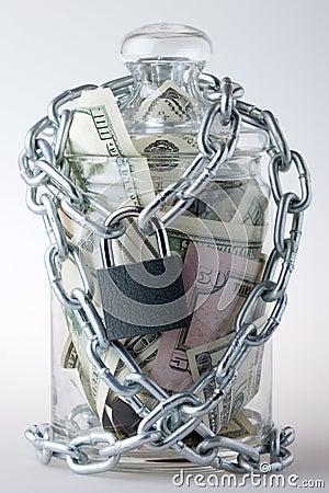 Money jar and padlock
