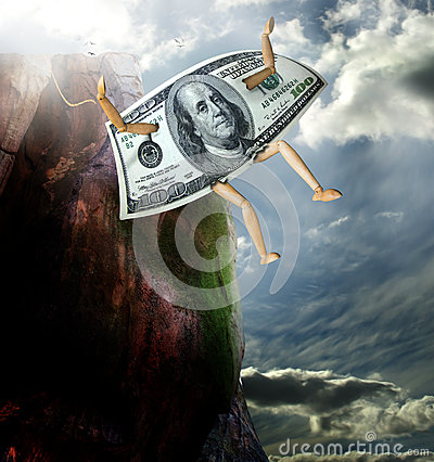 Money jumping from cliff