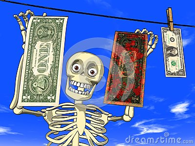 Money laundering - cartoon of skeleton with dollar