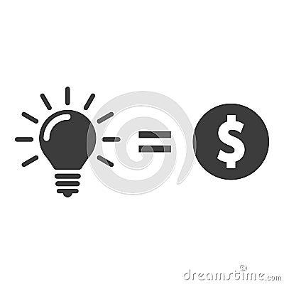Money for lightbulb idea. Money for idea vector icon Vector Illustration