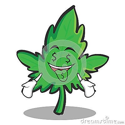 Money mouth face marijuana character cartoon Vector Illustration