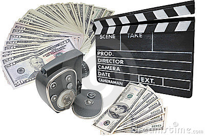 Money, old movie camera and clapperboard on a whit