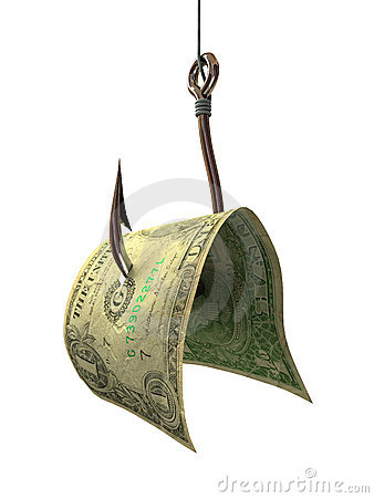 Free Money On A Hook - Concepts And Symbols Royalty Free Stock Photography - 1599577