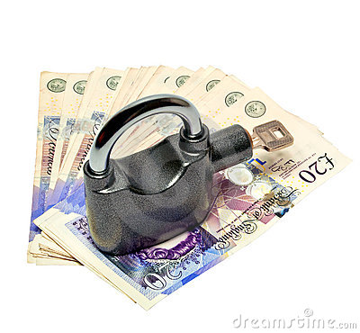 Money and padlock - safety concept