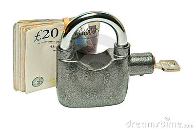 Money Padlock - security and safety concept