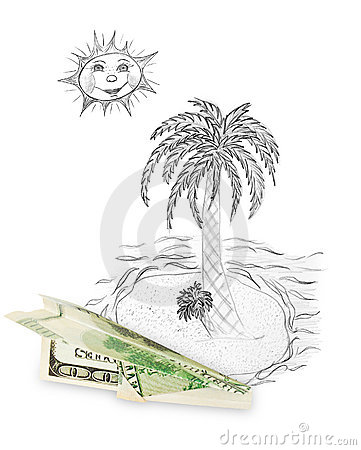 Money plane and tropical island