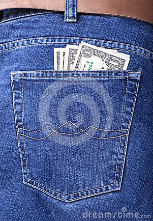 Money in a pocket of jeans