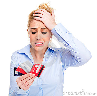Free Money Problems Stressed Woman Holding Credit Cards Stock Photography - 18189612