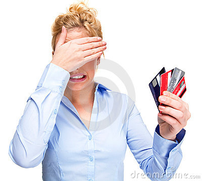 Free Money Problems Stressed Woman Holding Credit Cards Stock Images - 18189674