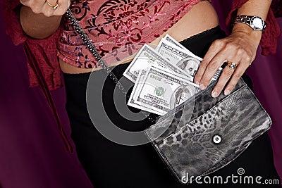 Money on the purse