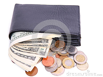 Money in purse isolated