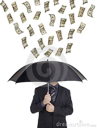 Money raining down on a person