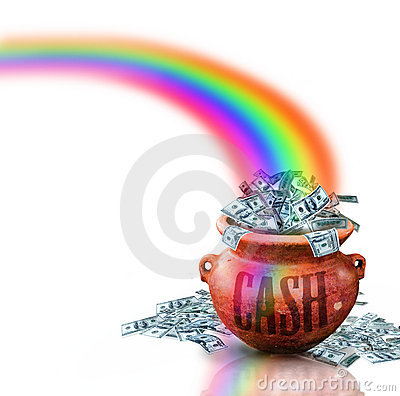 Money in red cash pot
