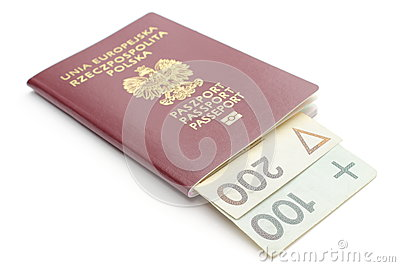 Money and red, polish passport on white background
