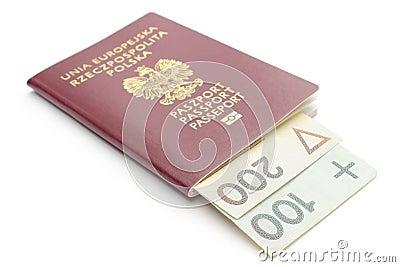 Money and red, polish passport on white background
