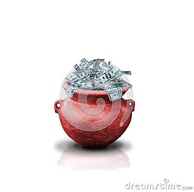 Money in red pot