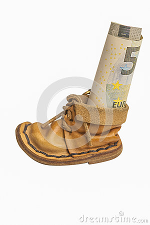 Money Roll in Symbolic Leather Shoe as Savings