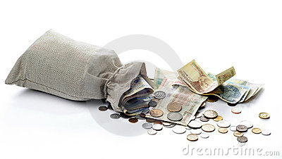 Money sacks and coins