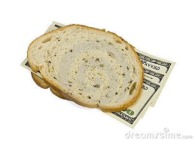 Money sandwiched concept cost of food