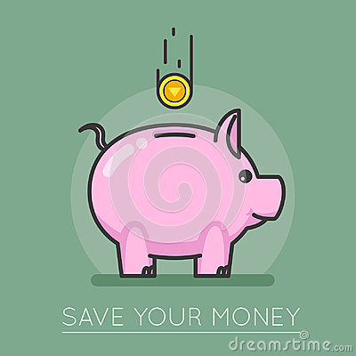 Free Money Saving Bank Coin Pig Concept Lineart Design Vector Illustration Royalty Free Stock Photography - 96101477