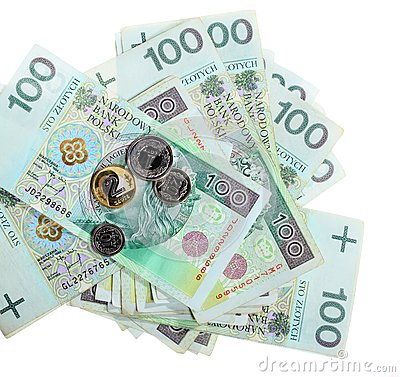 Money and savings. Stack of 100 s polish zloty banknotes
