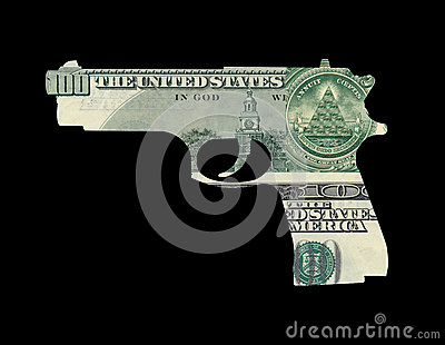 Money in shape of gun